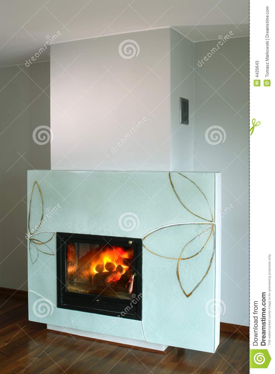 Fireplace With Glass Surround Stock Image Image of fire