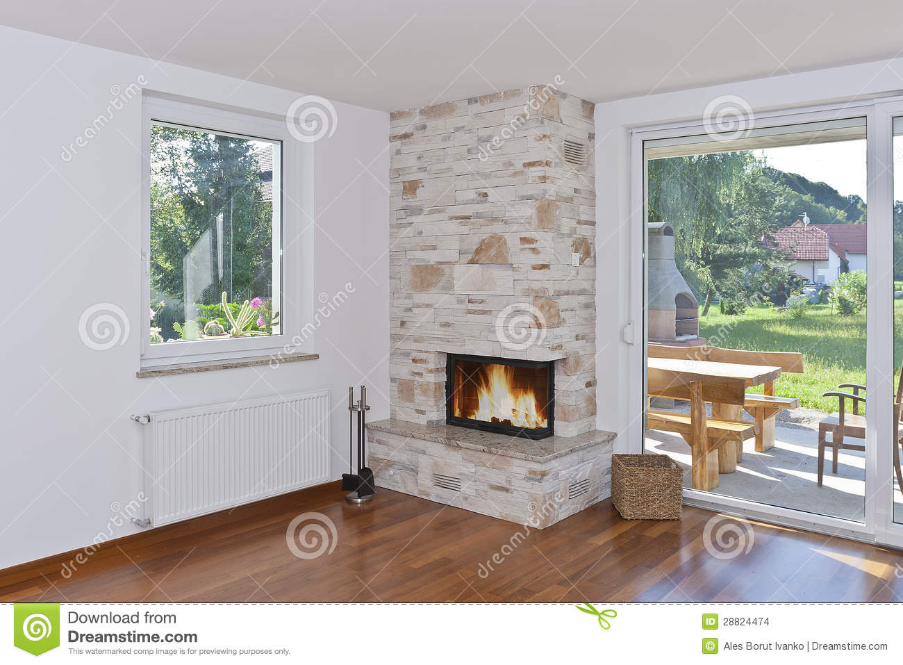 fireplace in a living room stock images image 28824474