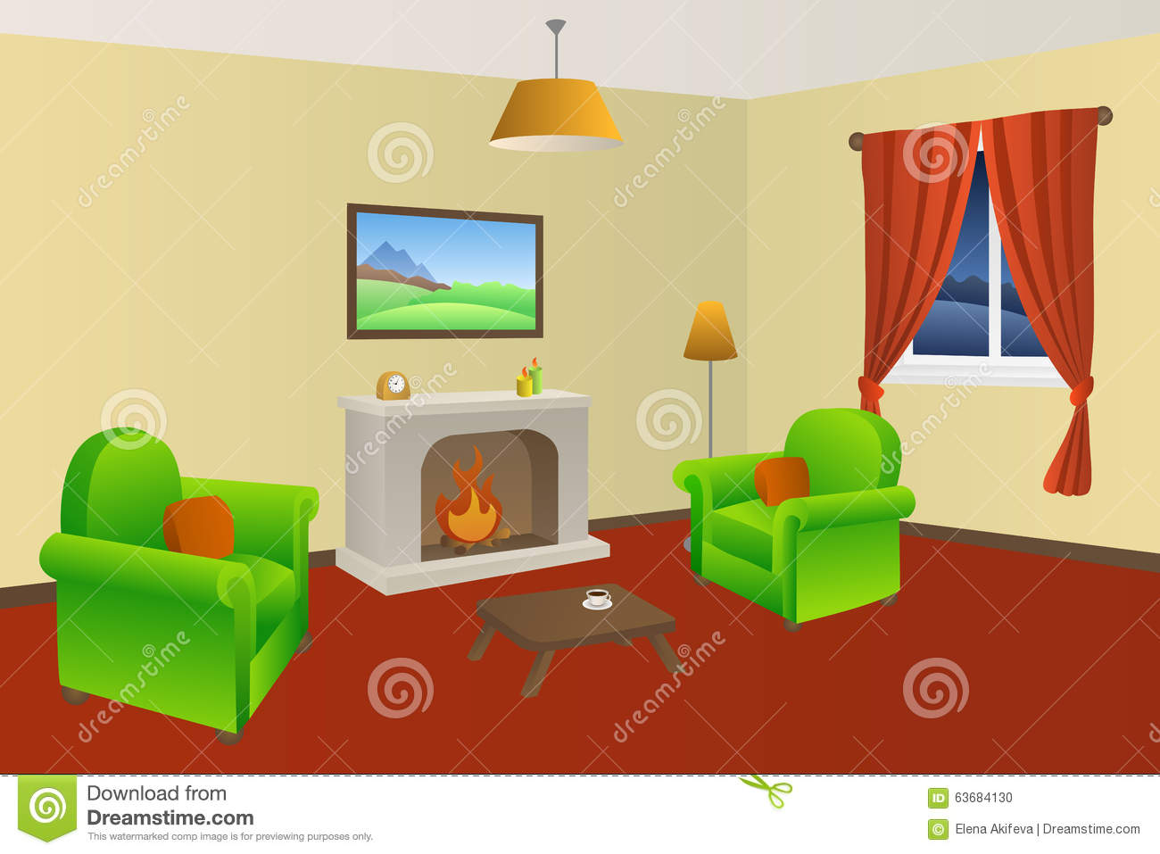 Fireplace living room beige armchair green red lamps window illustration