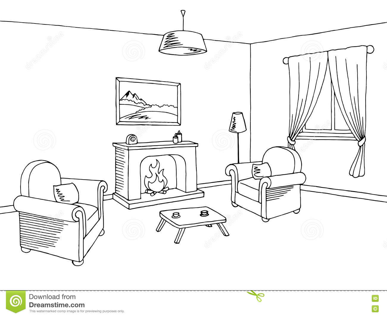Fireplace Living Room Interior Graphic Art Black White Sketch ...