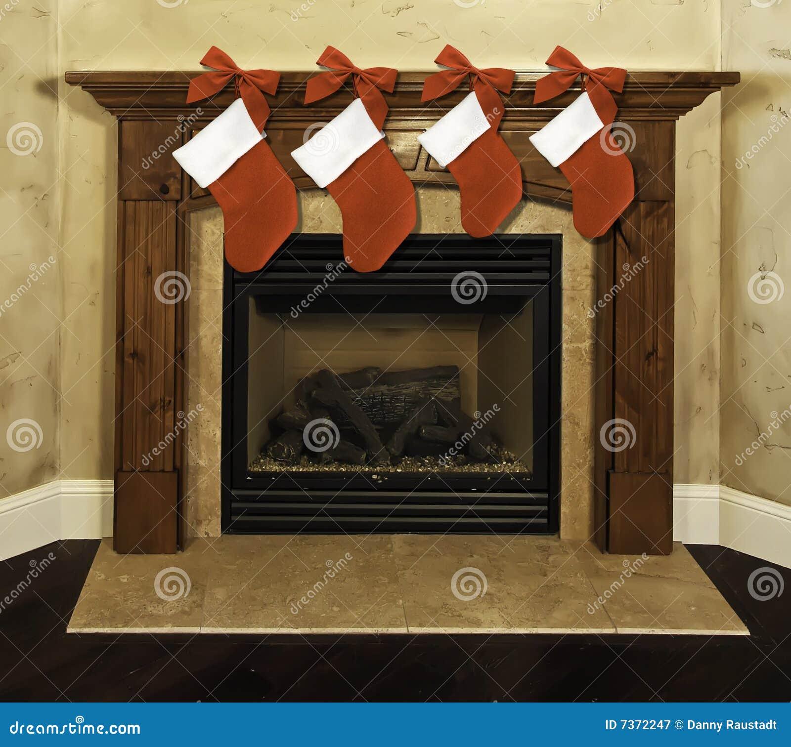 Fireplace Mantel Christmas Stockings Stock Image Image