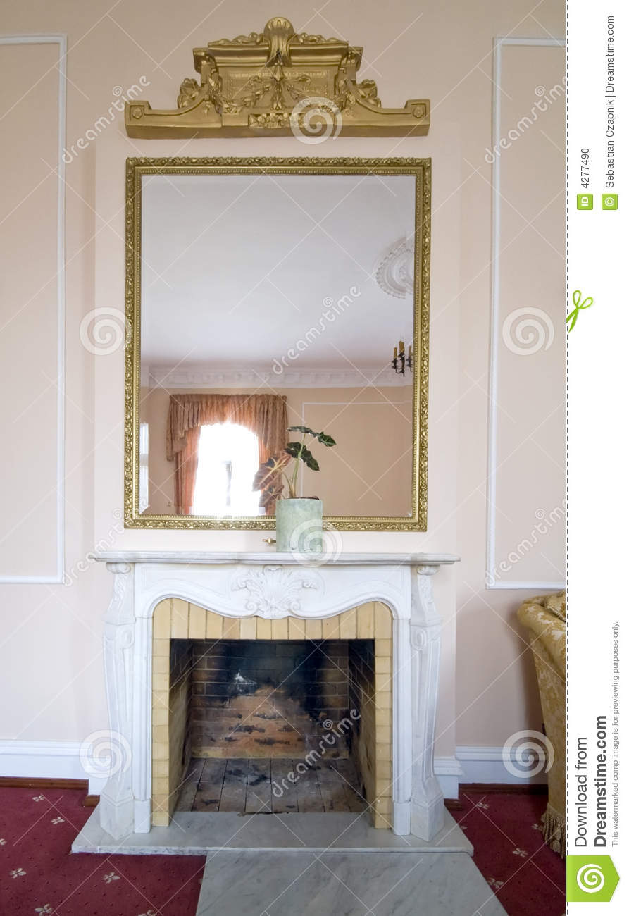Fireplace And Mirror Stock Photo Image Of Empty Huge