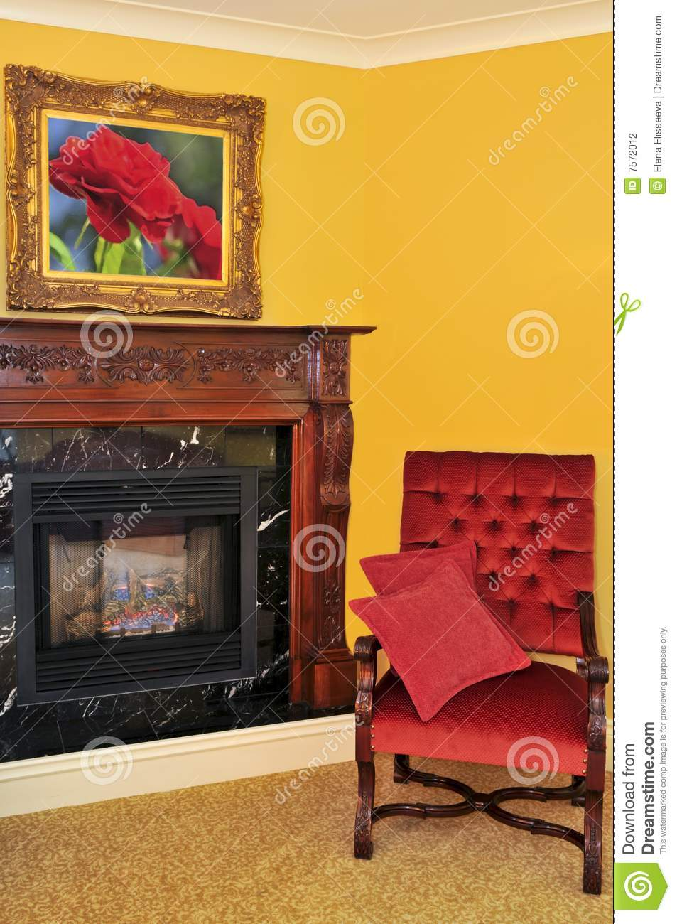 1800s Country Homes: Fireplace And Red Chair Stock Photography