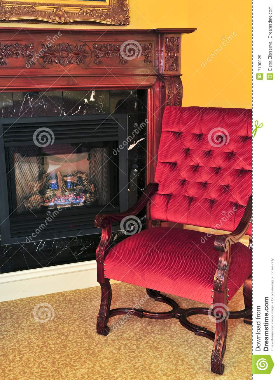 1800s Country Homes: Fireplace And Red Chair Stock Image. Image Of Armchair