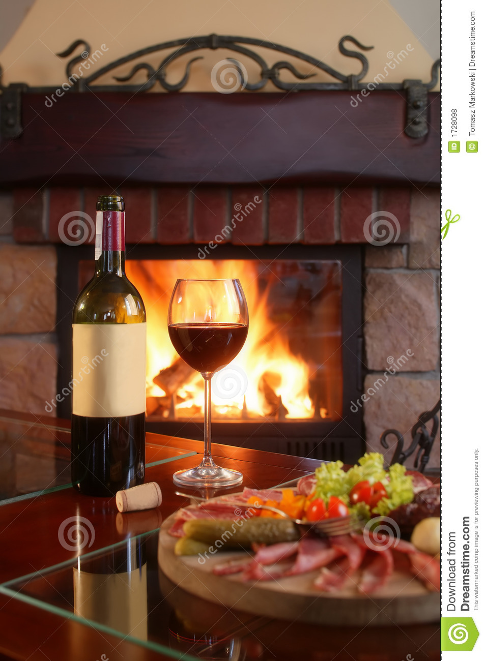 Fireplace And Red Wine 2 Royalty Free Stock Photos - Image ...