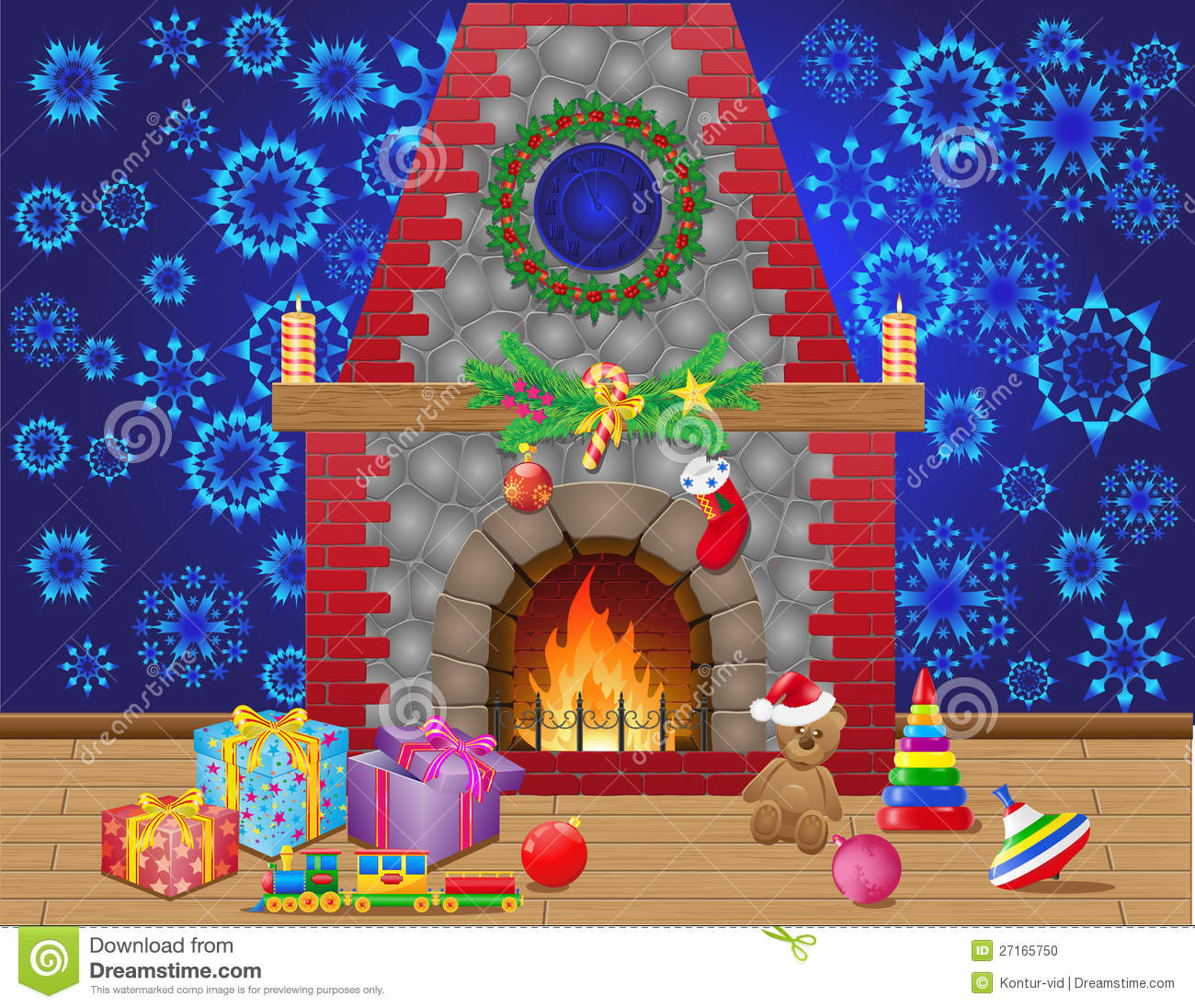 Christmas Room Stock Vector Image Of Illuminated: Fireplace Room With Christmas Gifts Stock Vector