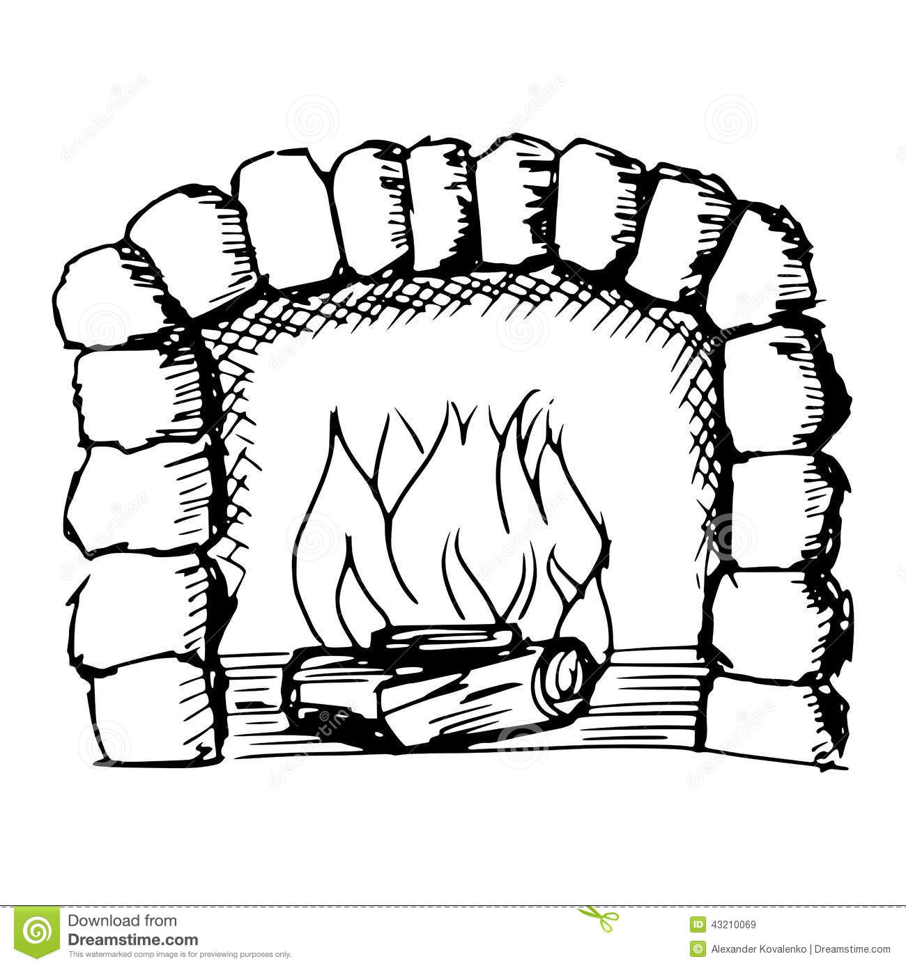 Sketch, doodle, hand drawn illustration of fireplace.