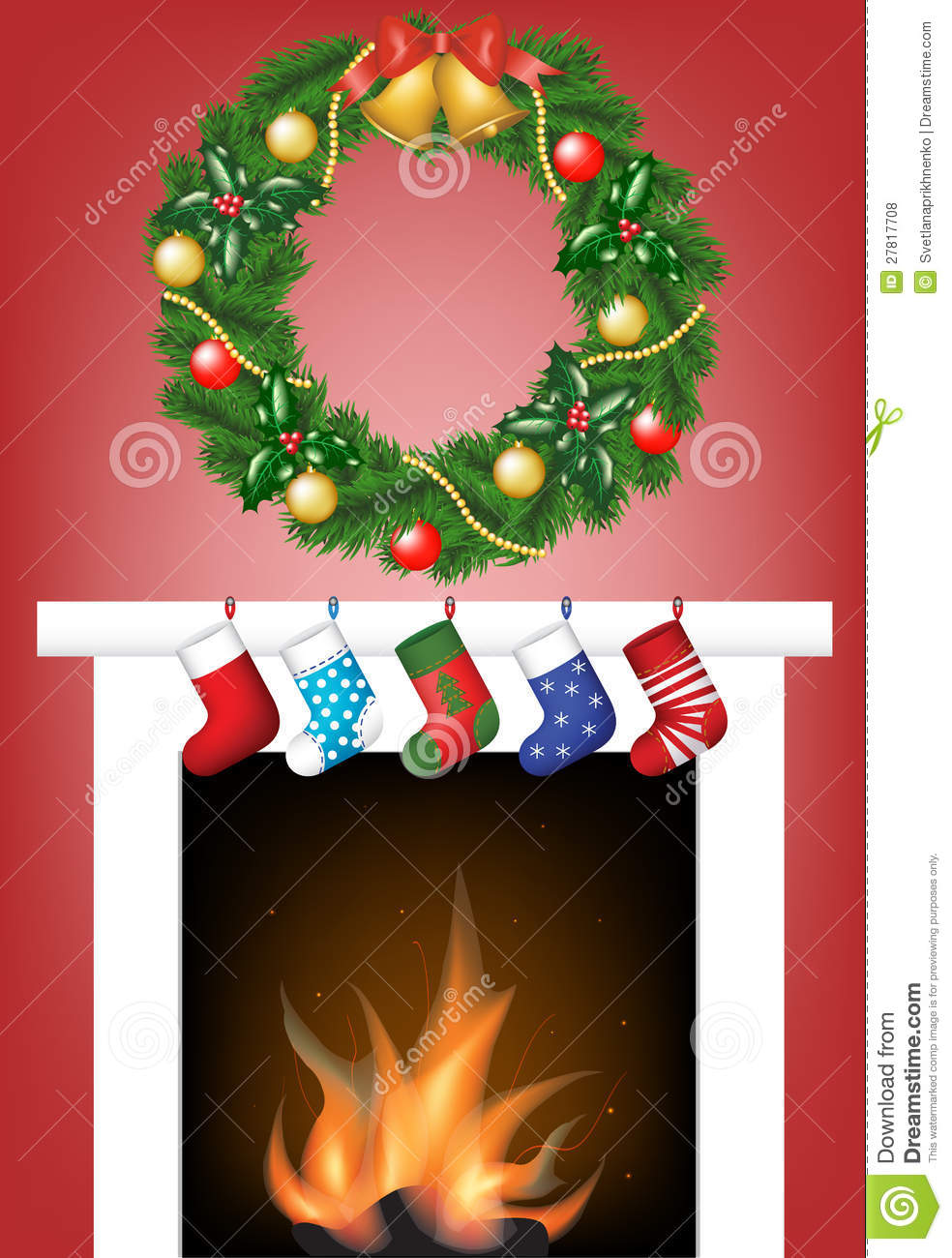 Fireplace socks and garland royalty free stock photos
