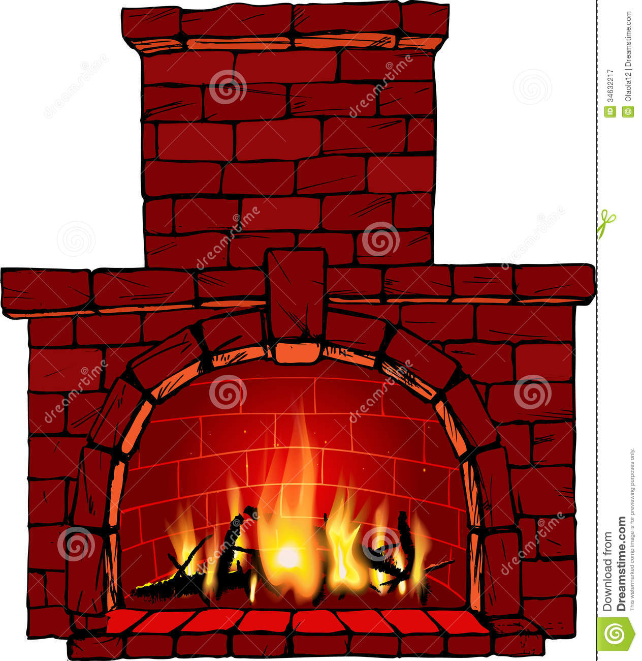 Brick Fireplace Clip Art Fireplace