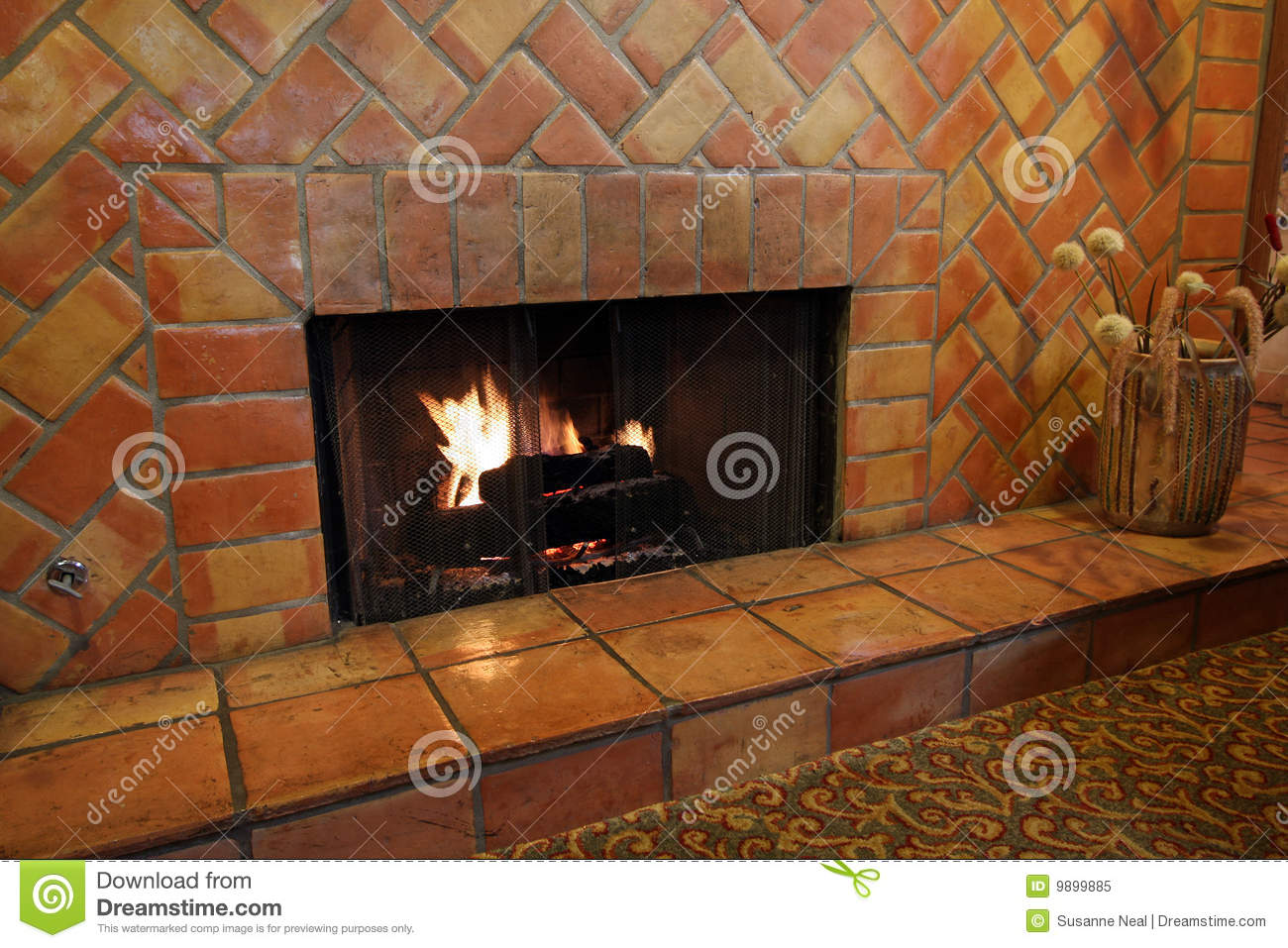 Fireplace And Wall Tiles And Bricks Royalty Free Stock ...