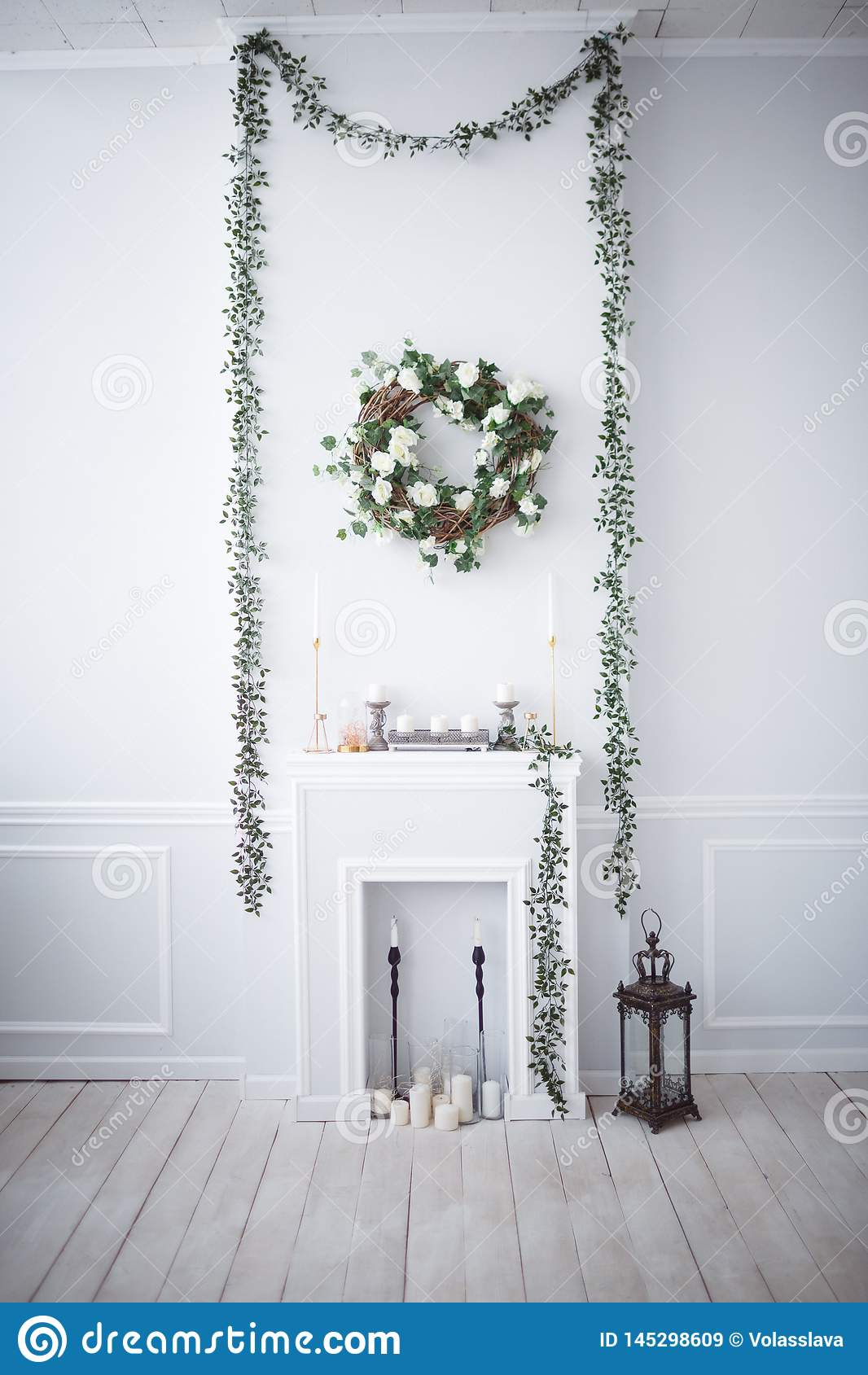 Fireplace in the white room