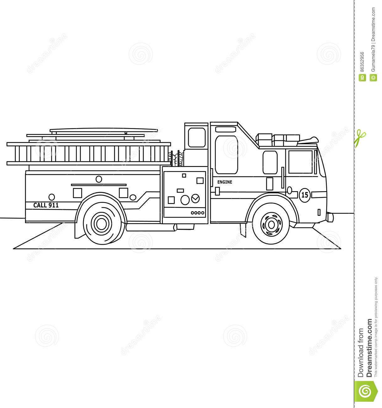firetruck coloring page stock illustration image 86352956