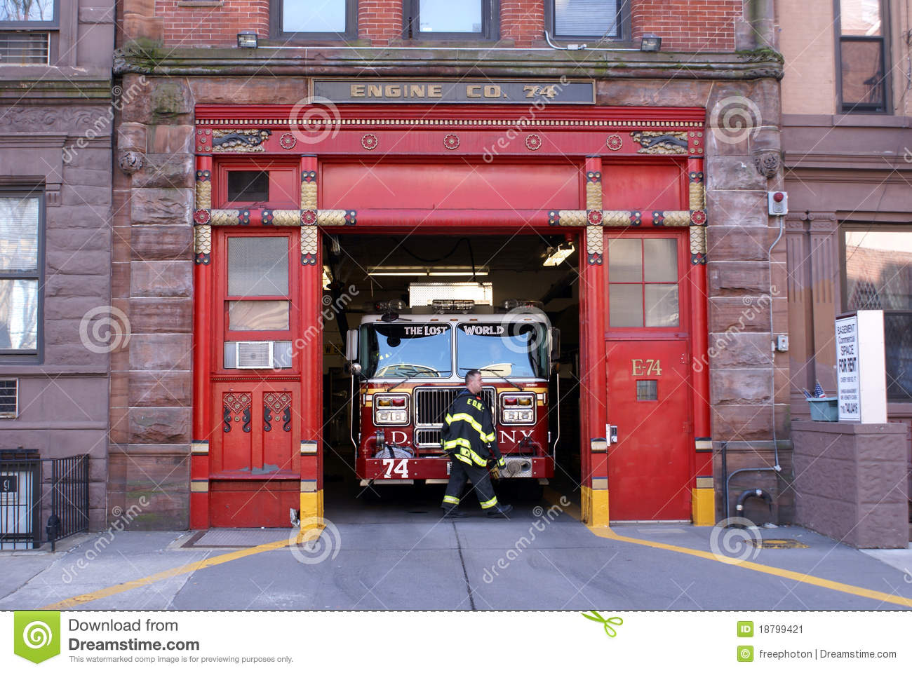 Inside front door clipart - Firetruck In Firehouse Engine 74 New York City Editorial