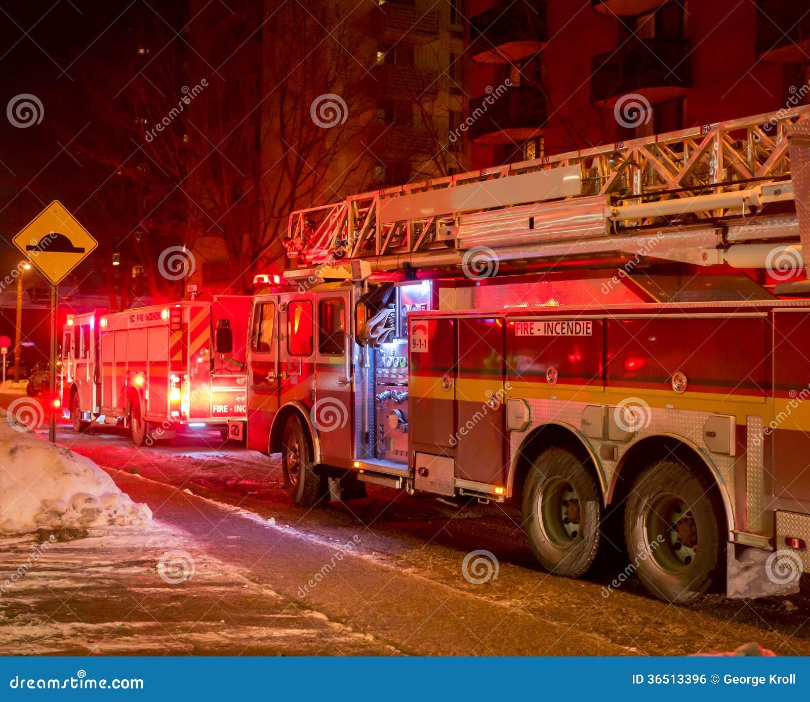 Firetrucks winter night