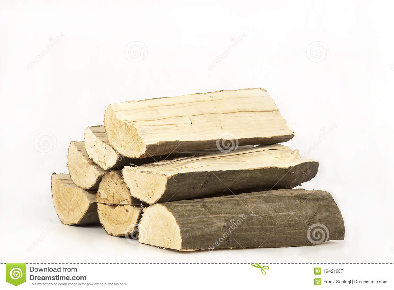 Firewood stock image of split isolated dried