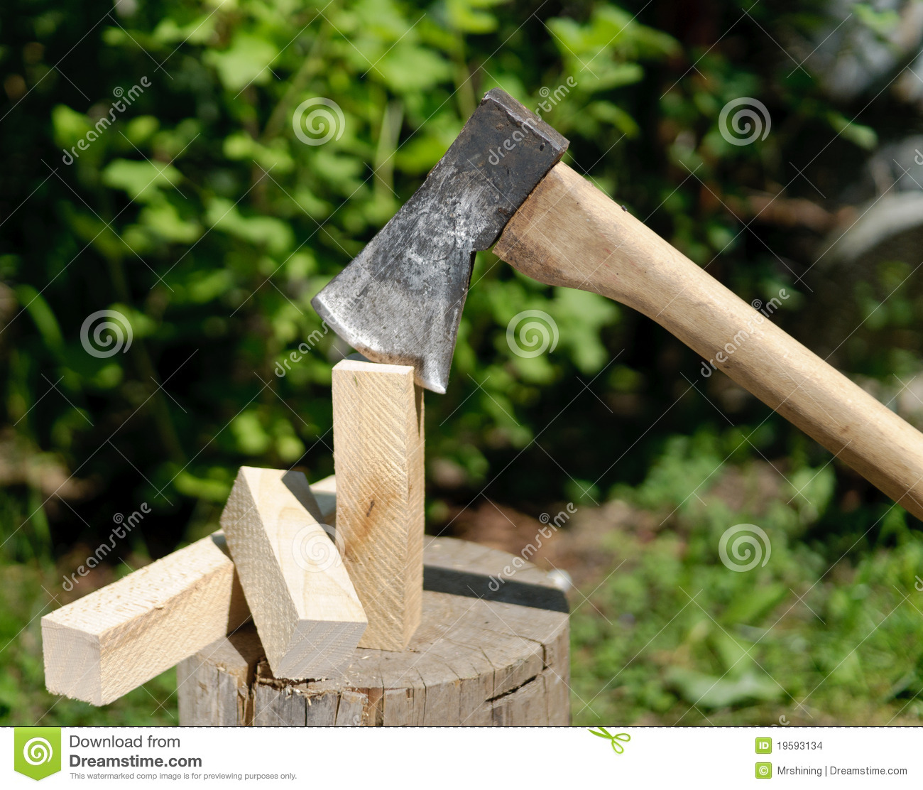 Firewood with axe stock images image