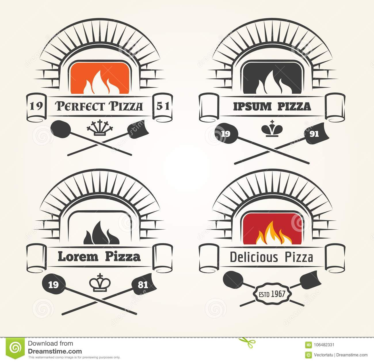 Firewood Oven Pizza Logo Stock Vector Illustration Of Cooked