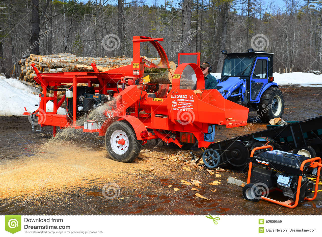 Tractor Splitting Tools : Firewood processing equipment editorial stock image