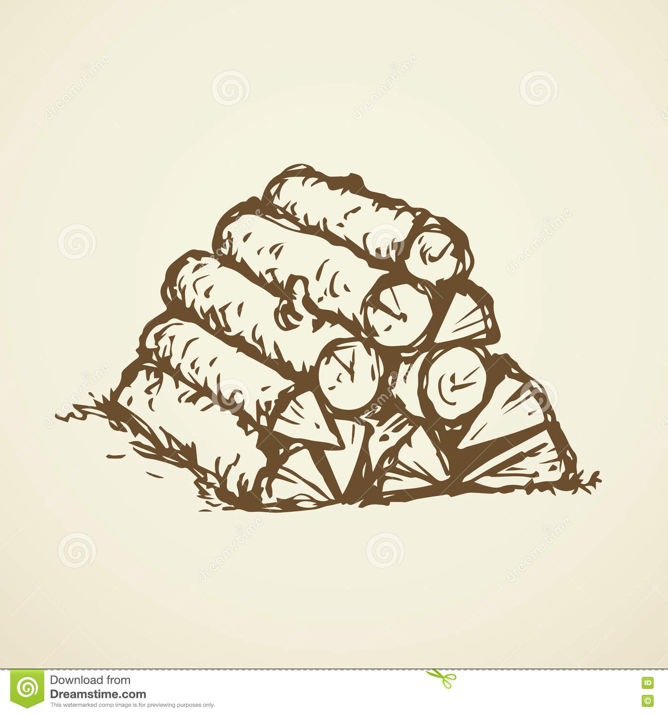 Firewood. Vector Drawing Stock Vector. Image Of Drawing