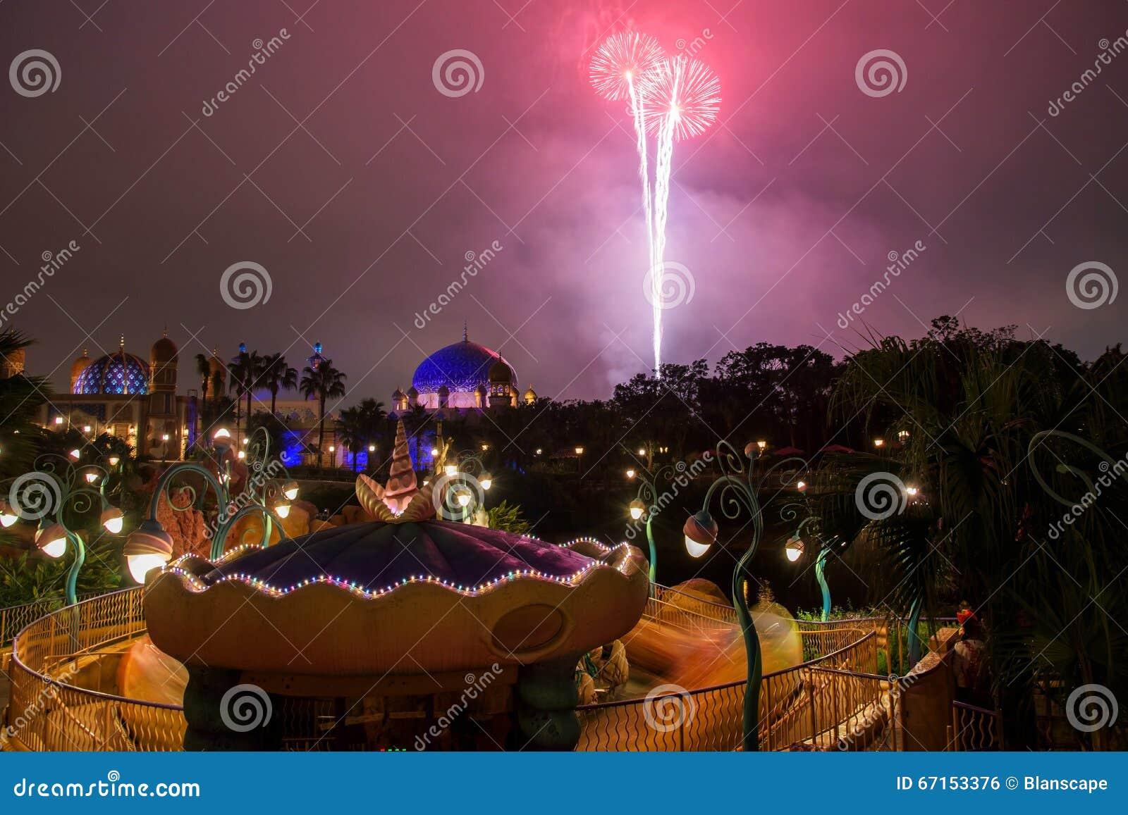 Tokyo Japan November 08 2015 Firework Above Arabian Coast Building At Tokyo Disney Sea Opened In  Acres Area