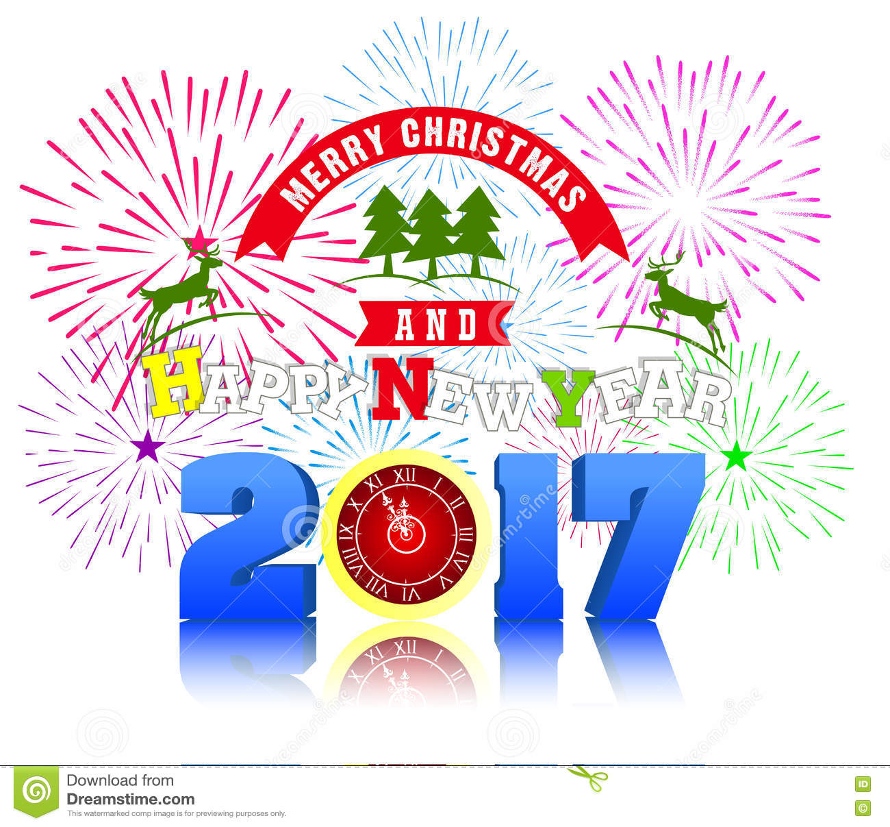 firework display for merry christmas and happy new year 2017 vector