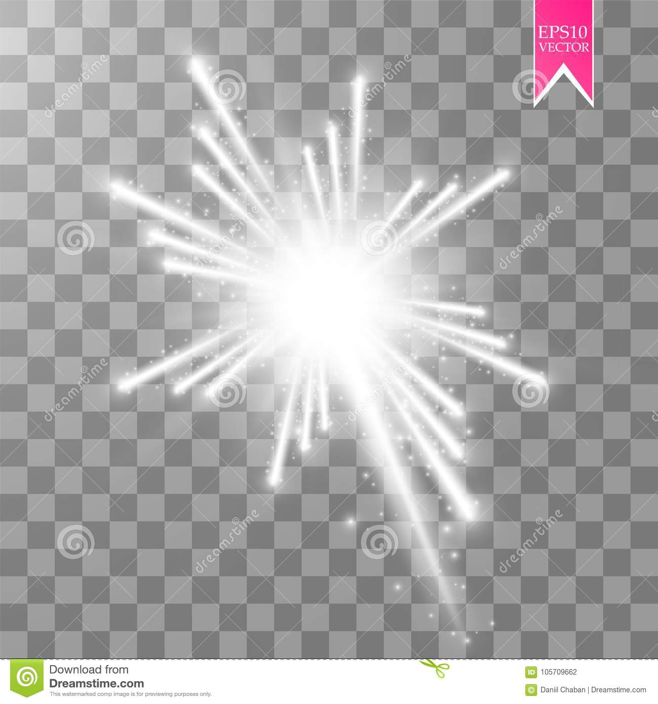 Firework lights effect with glowing stars in sky isolated on transparent background. Vector white festive party rocket