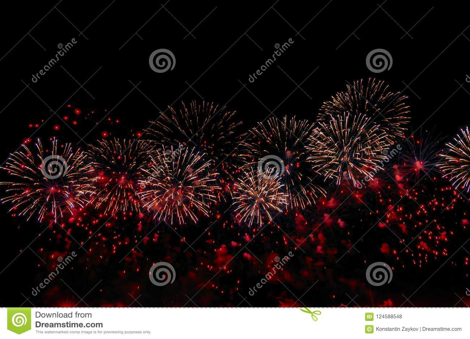 Fireworks on black background for celebration design. Abstract red firework display background.