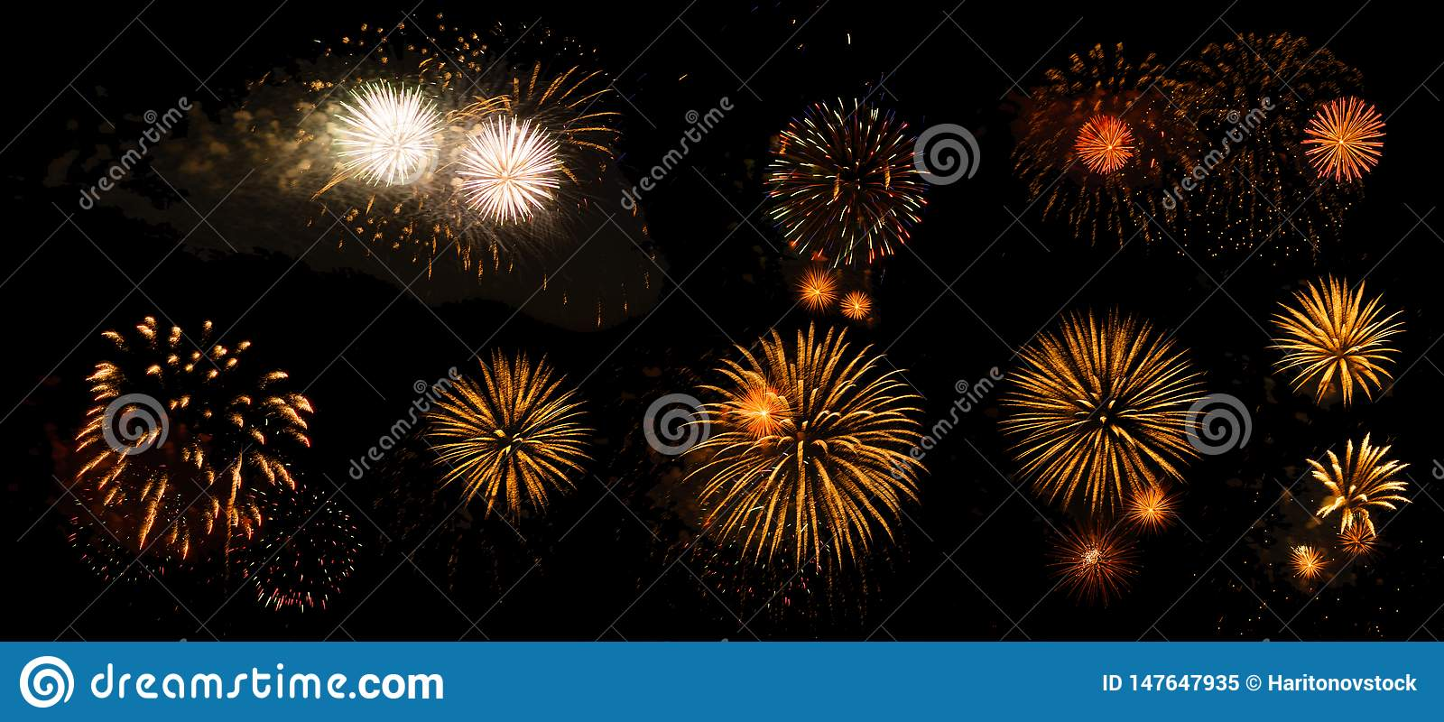 Fireworks on a black background isolated