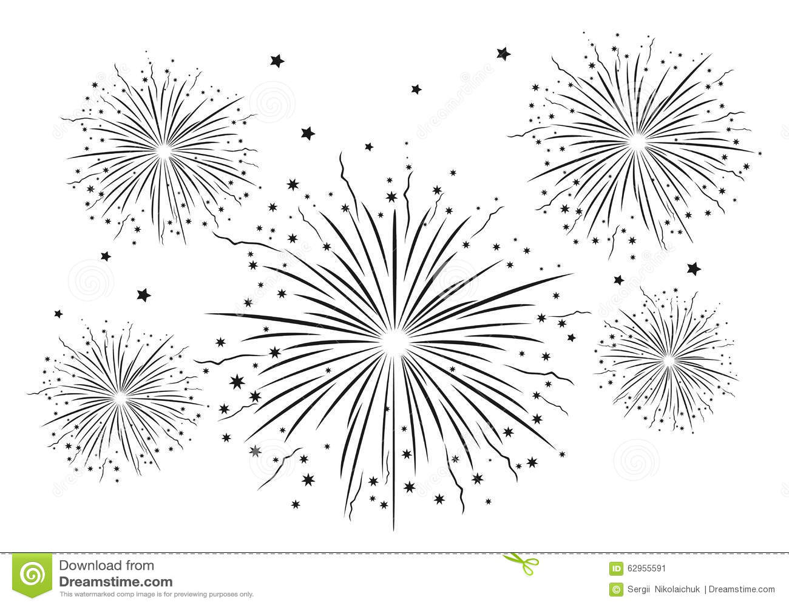 Fireworks Black And White . Stock Illustration - Image ...