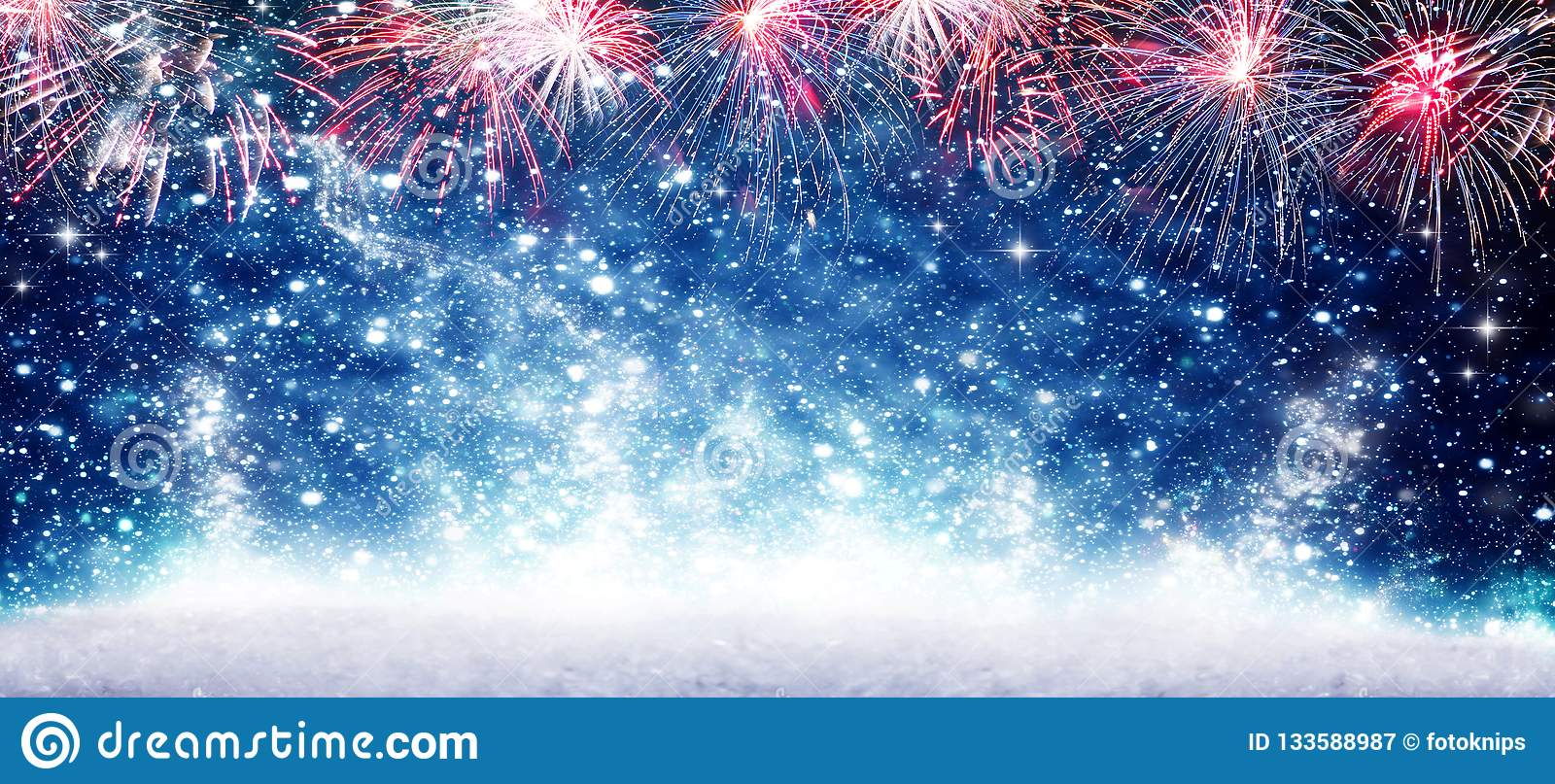 Fireworks, blue background New Year#s Eve