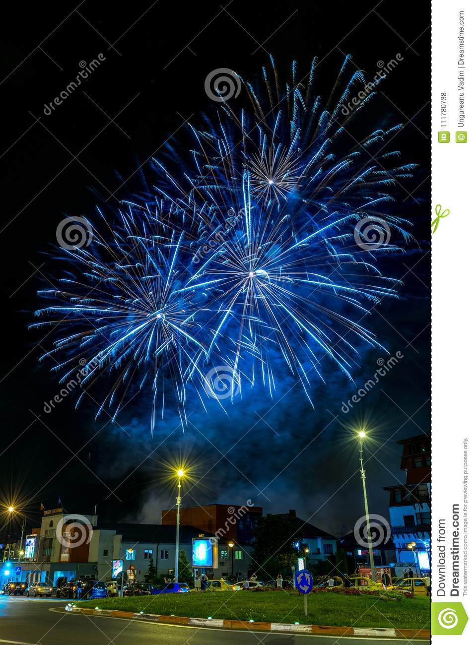 Fireworks during the closing ceremony of the FITS Festival in Sibiu, Romania