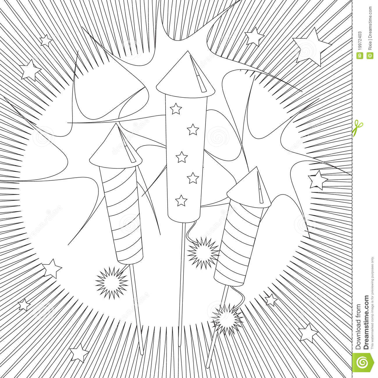 Fireworks colouring page stock vector. Illustration of fire - 19972403