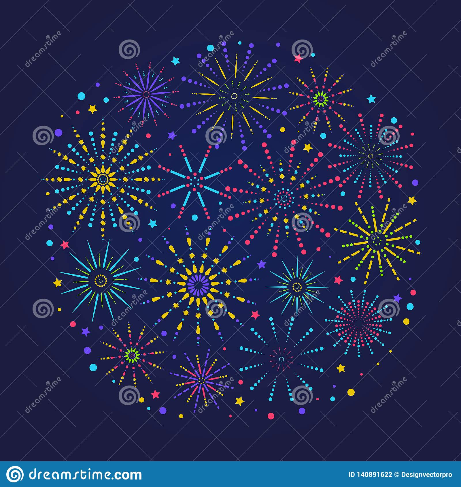 Fireworks composition for festival, holiday or winner poster. Trendy congratulations banner with fireworks in linear style.