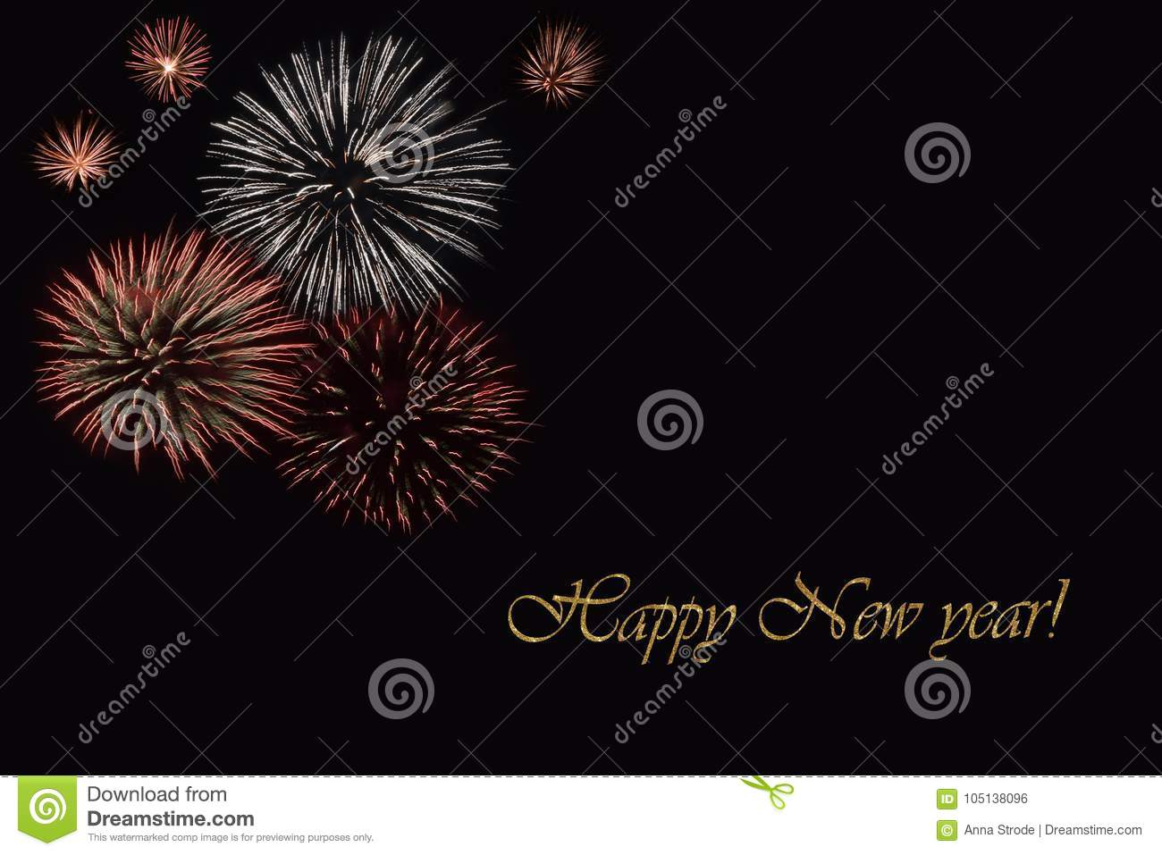 Fireworks On A Dark Background And A Text `Happy New Year