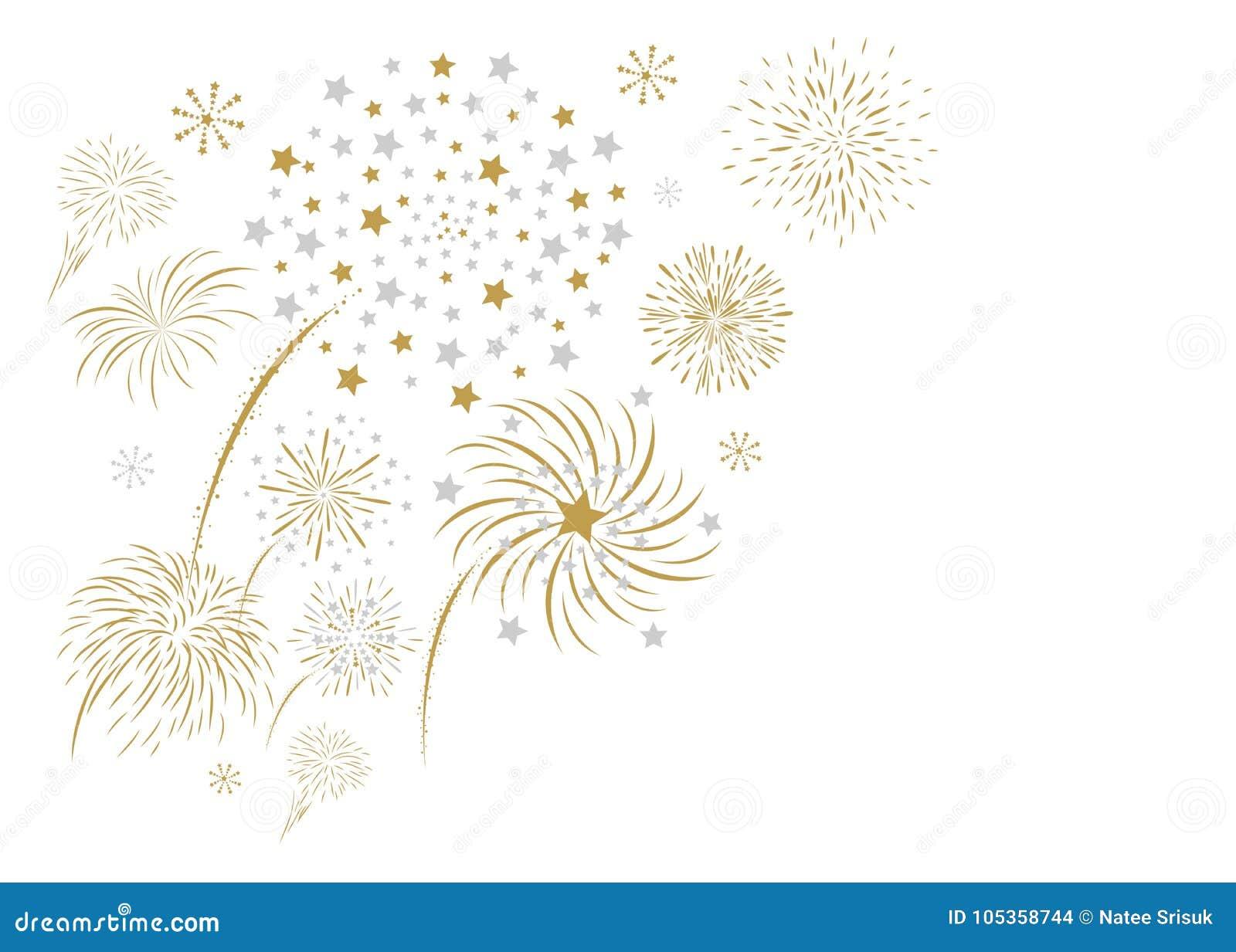 Fireworks design isolated on white background