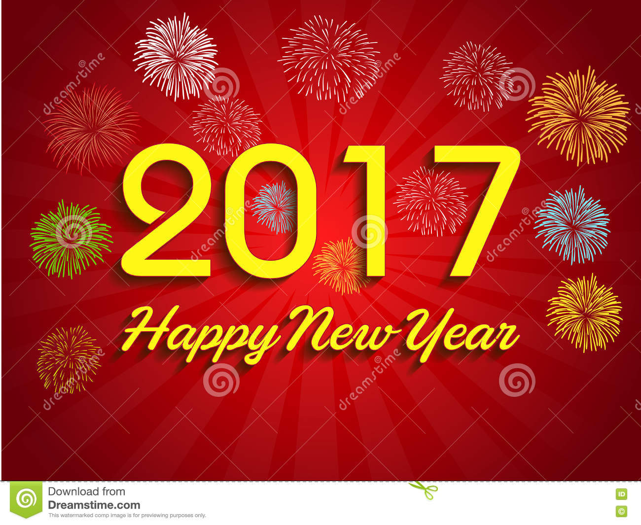 Fireworks Display For Happy New Year 2017 Stock Vector