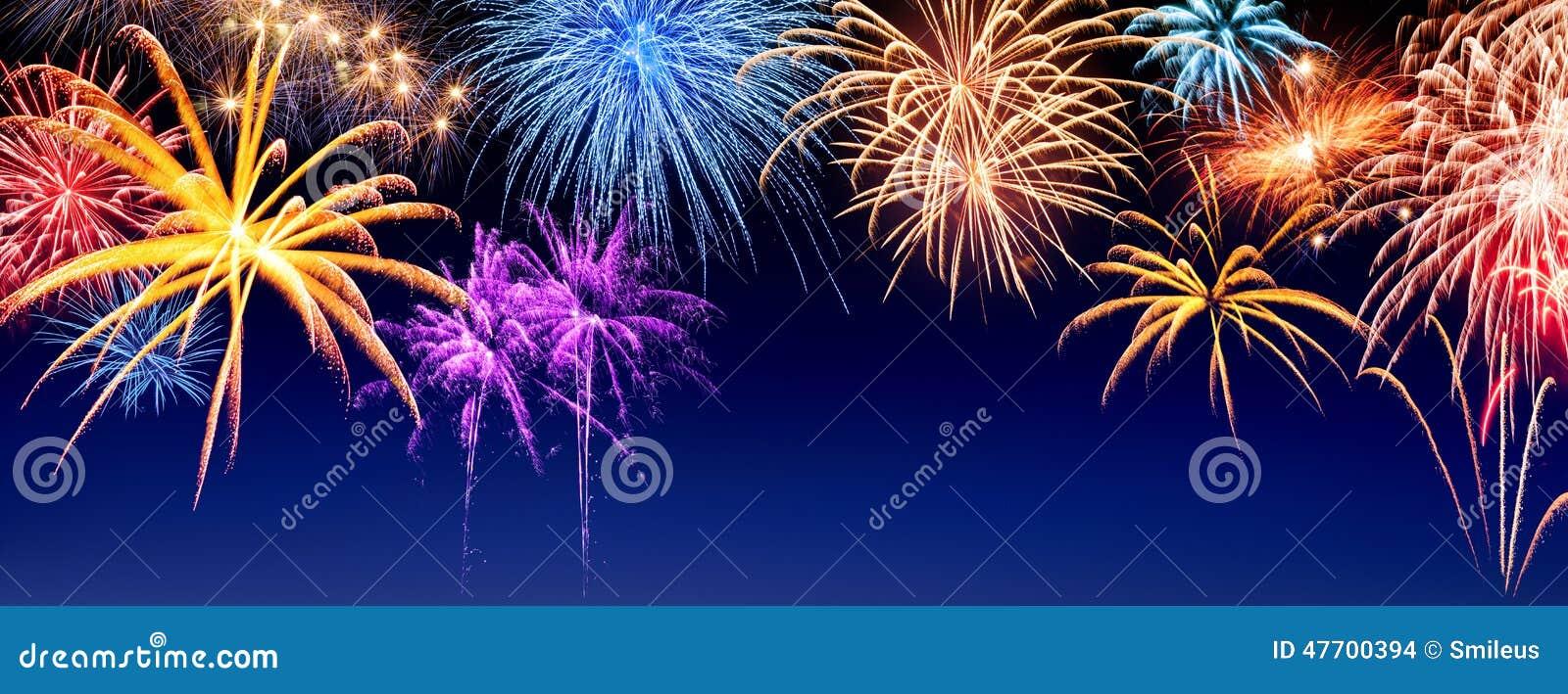 Fireworks display panorama