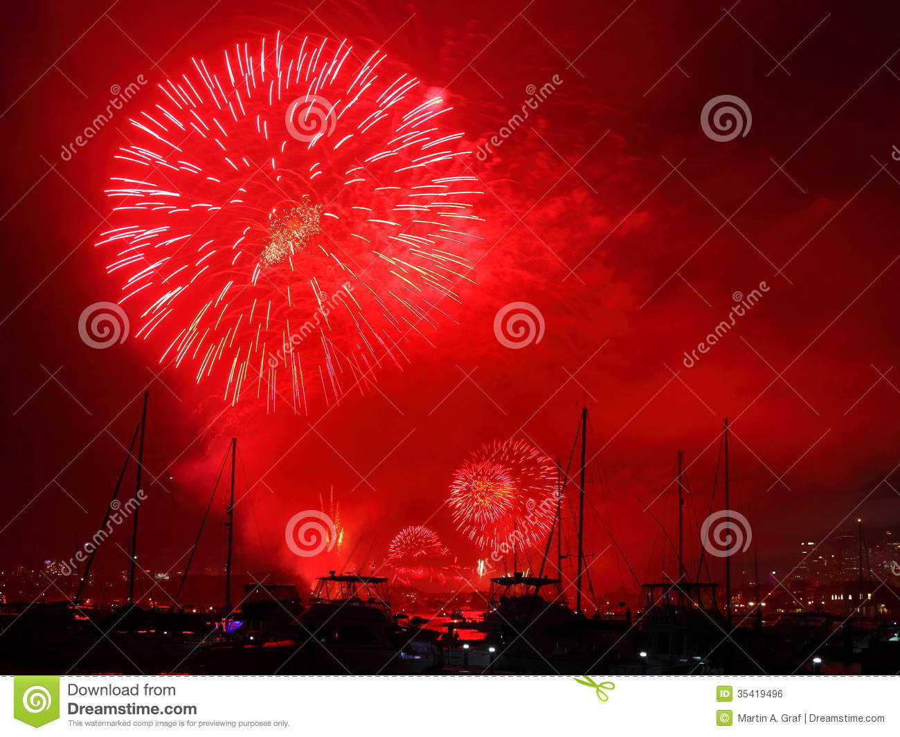 Red Fireworks Free Stock Photo: Red Blast Fireworks Over Harbor Stock Photo