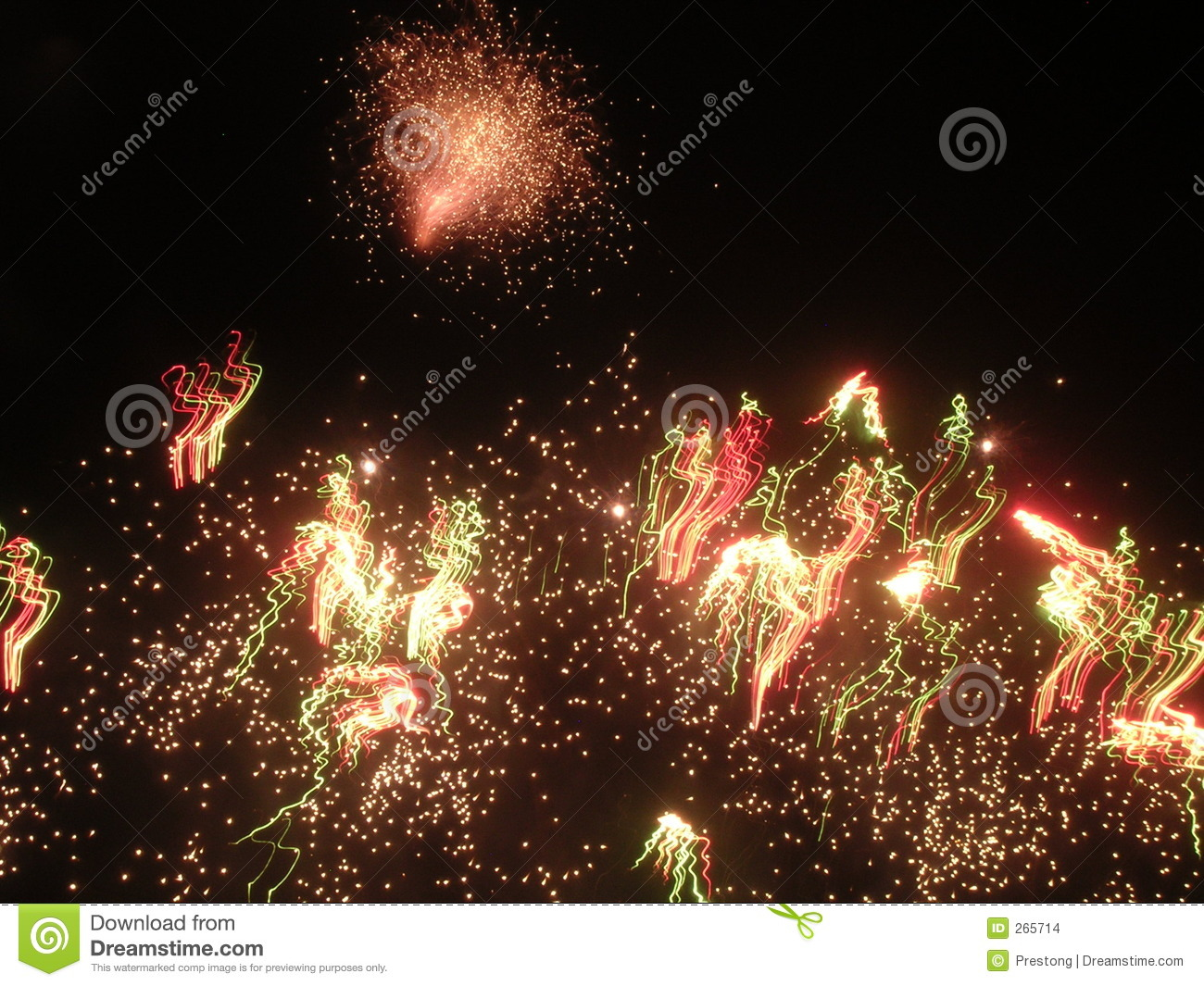 Download Fireworks Exploding At Night Stock Photo - Image of sparks, entertainment: 265714