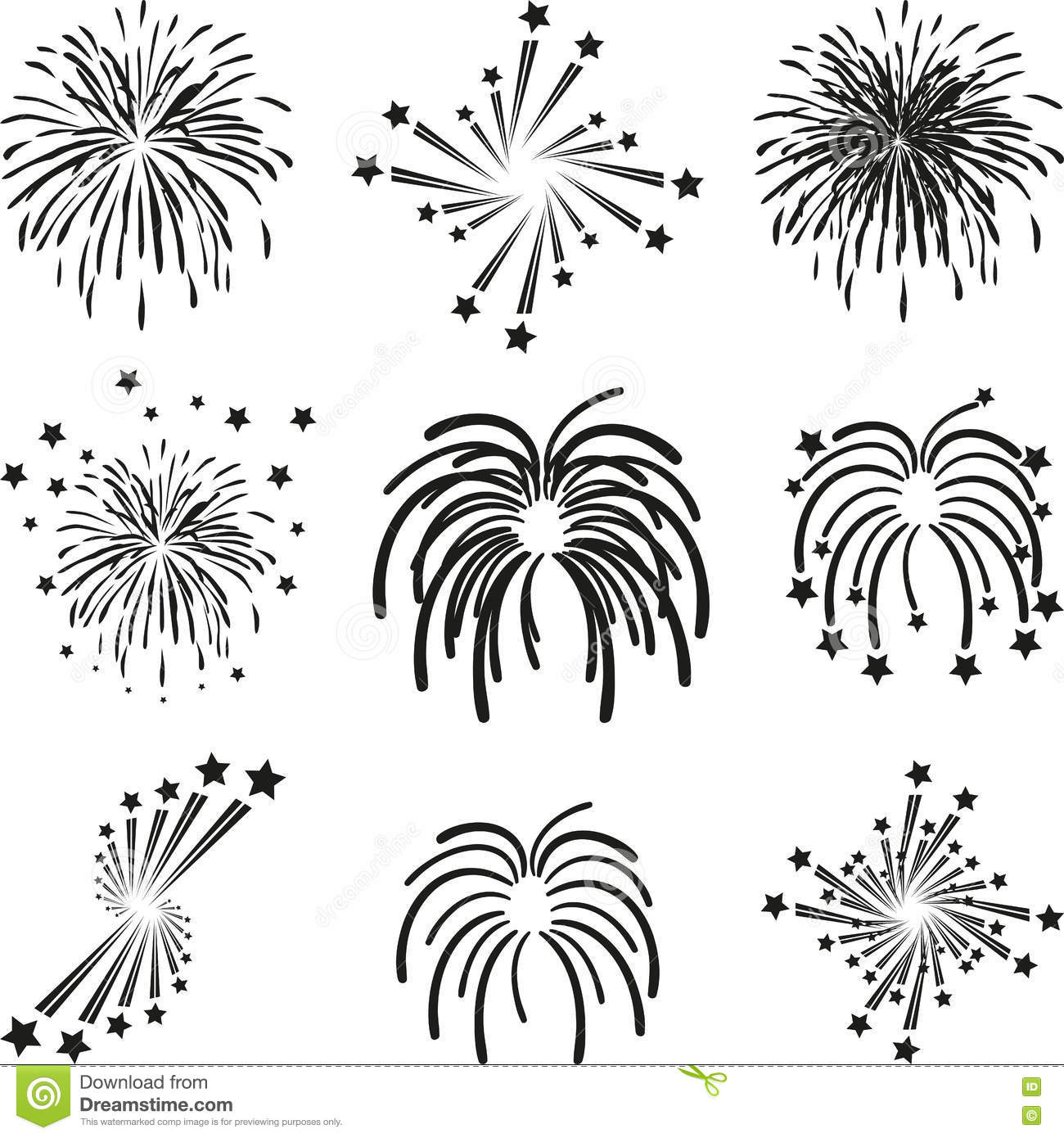 fireworks explosion template collection stock vector