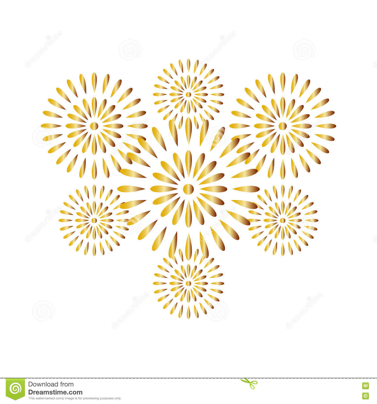 fireworks gold isolated on white background beautiful design for new year anniversary celebration and festival