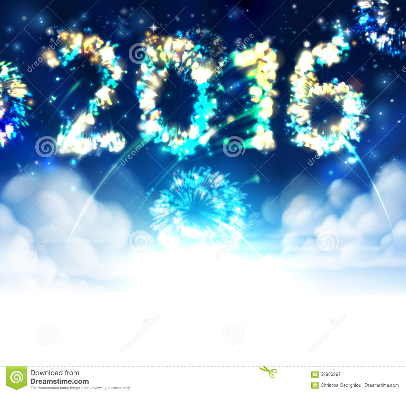 sky fireworks 2016 new year background with clouds and stars fades to white at the bottom for easy use as border design or header