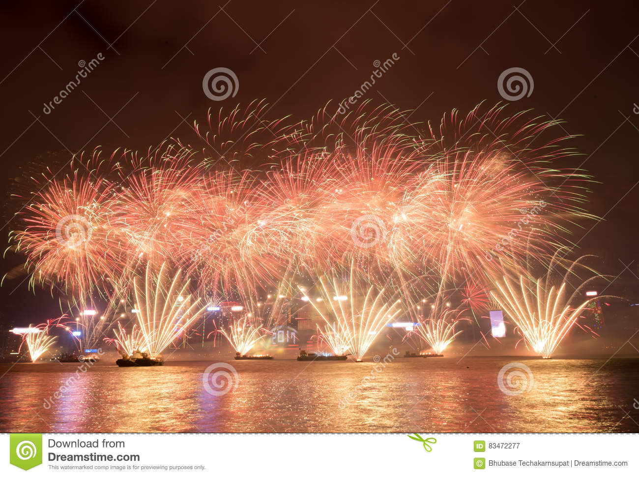 Fireworks in Hong Kong New Year celebration 2017 at Victoria Harbor