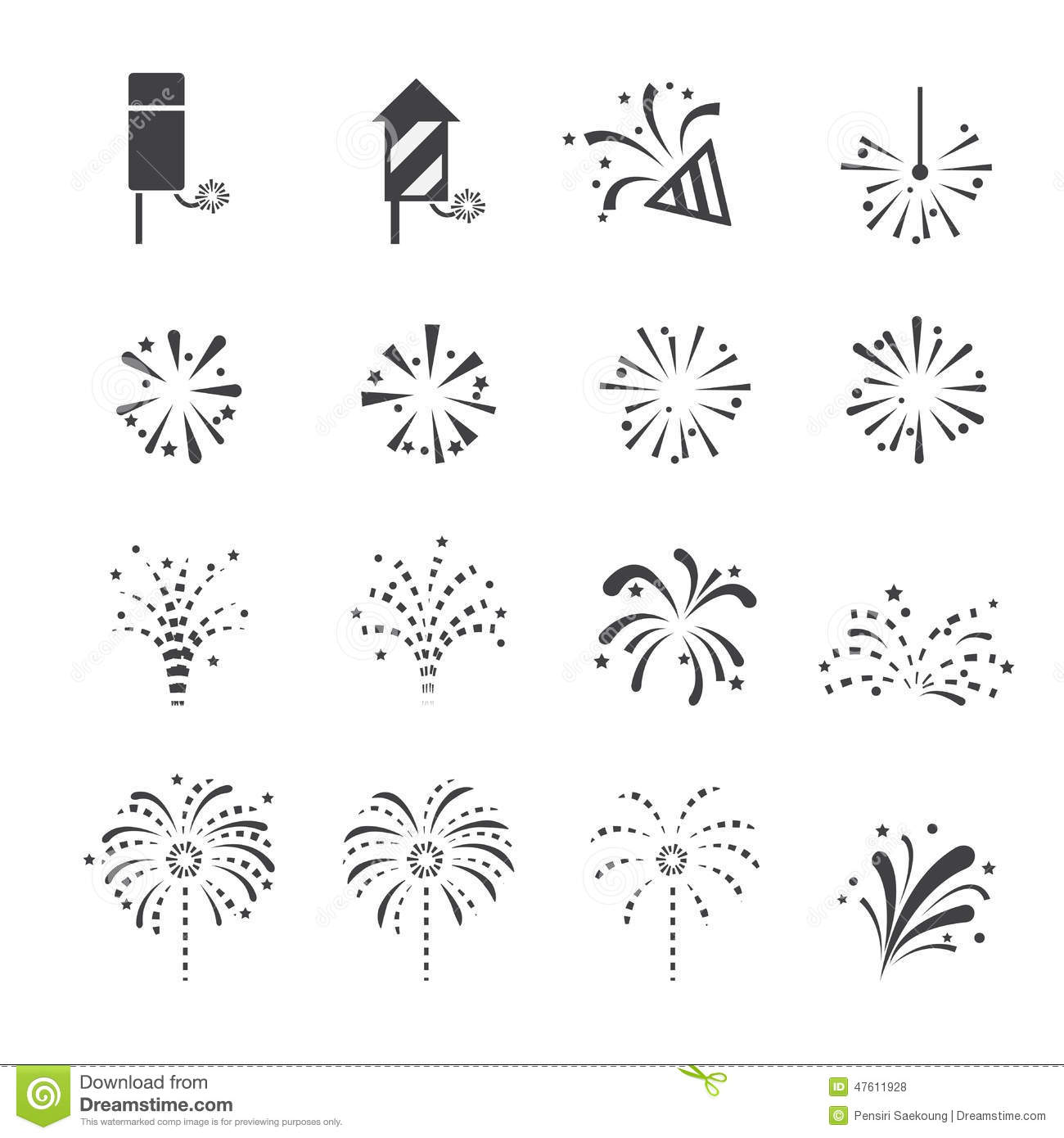Vector Illustration Web Designs: Fireworks Icon Stock Vector. Image Of Black, Party