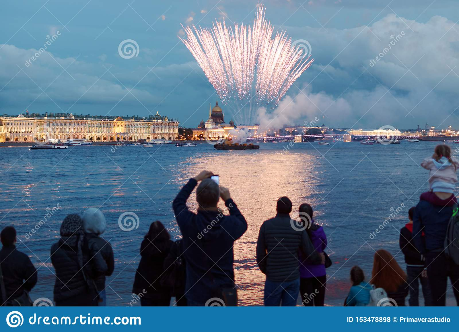 Fireworks Light Up the Skies Over St. Petersburg, Russia