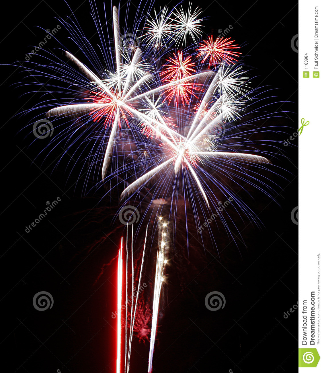 Download Fireworks Lights Explosions Red White Blue Stock Photo - Image of holidays, display: 1183984