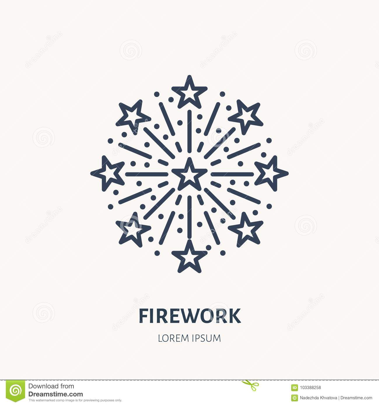 Fireworks line icon. Vector logo for event service. Linear illustration of new year firecrackers, salute