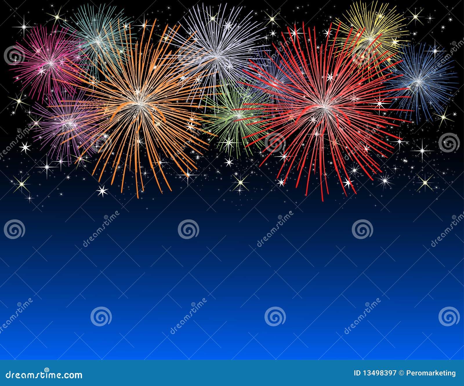 Fireworks on new years eve stock illustration. Illustration of ...