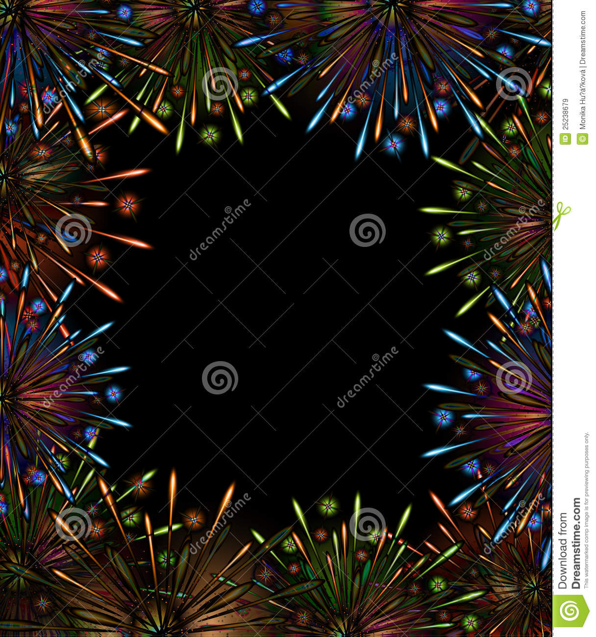 fireworks night frame color royalty free stock images