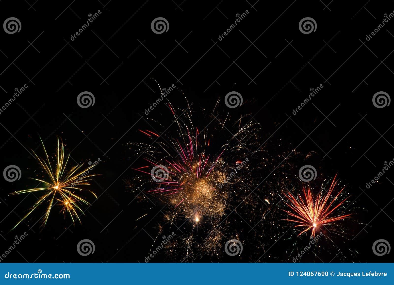 Fireworks over black sky